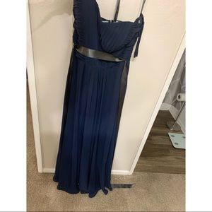 Navy blue chiffon strapless dress